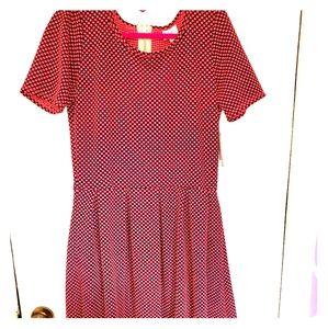 LulaRoe Large Amelia Black w/ Hot Pink Polka Dots